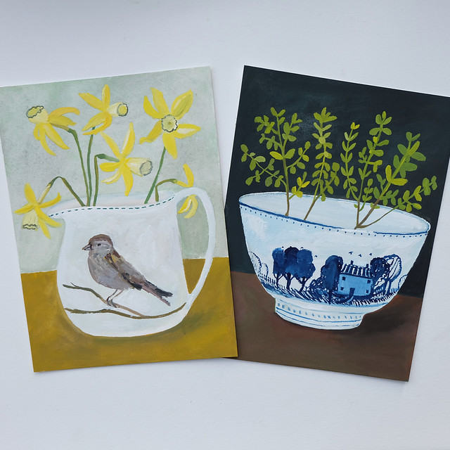 sparrow jug with tiny daffodils + blue and white cottage bowl with marjoram