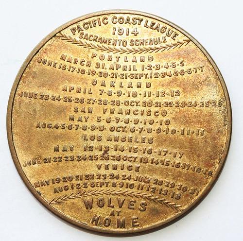 2 Sacramento Wolves baseball schedule token-rev | by Numismatic Bibliomania Society