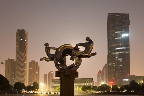 yixing wuxi jiangsu china prc sunrise dawn softlight sculpture artwork public park night