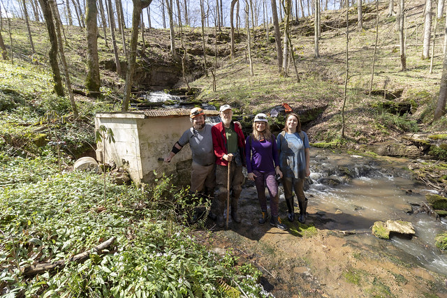 Chuck Sutherland, Marion O. Smith, Megan Atkinson, Annabelle Dempsey, springhouse, Stovers Cave entrance, Overton County, Tennessee