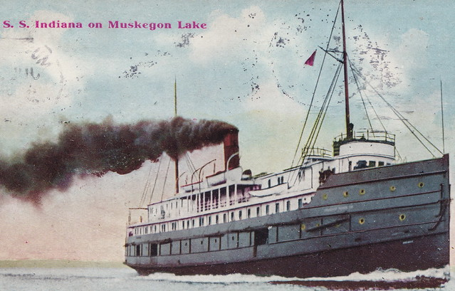 SHIP THE SS INDIANA c.1910 on Muskegon Lake was a Lake Michigan Steamer Excursion Ferry US Mail & Package Freight Boat Goodrich Transportation of Chicago & Muskegon2