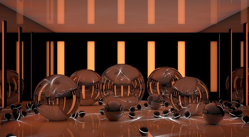 Обои арт, шары, сферы, разные, глянец, отражение, полосы, неон, поверхность картинки на рабочий стол, фото скачать бесплатно