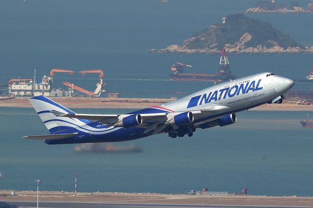N919CA, Boeing 747-400SF, National Airlines, Hong Kong