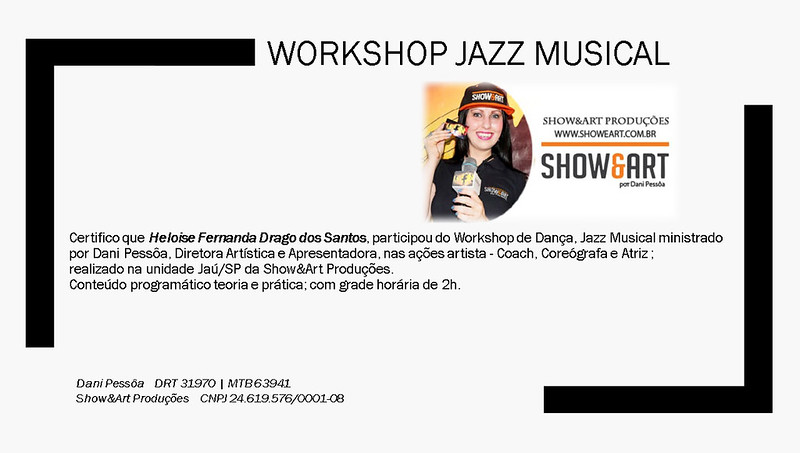 Certificado Workshop Jazz Musical _ Heloise