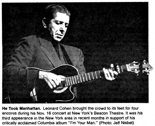 Leonard Cohen at the Beacon Theatre NYC 1988