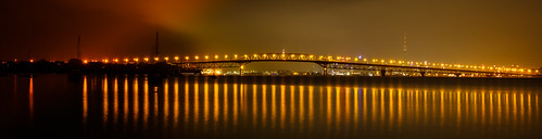aucklandharbourbridge longexposure harbourbridge newzealand ankh lights dawn reflections sky clouds water caldwell auckland light
