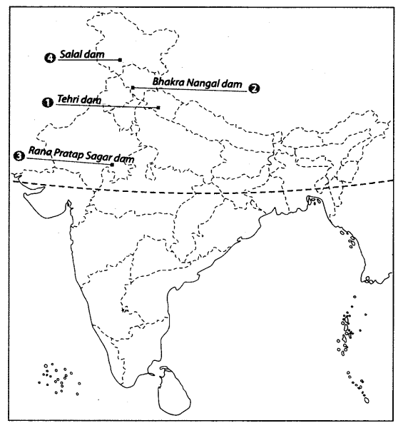 Class 10 Geography Map Work Chapter 3 Water Resources A1