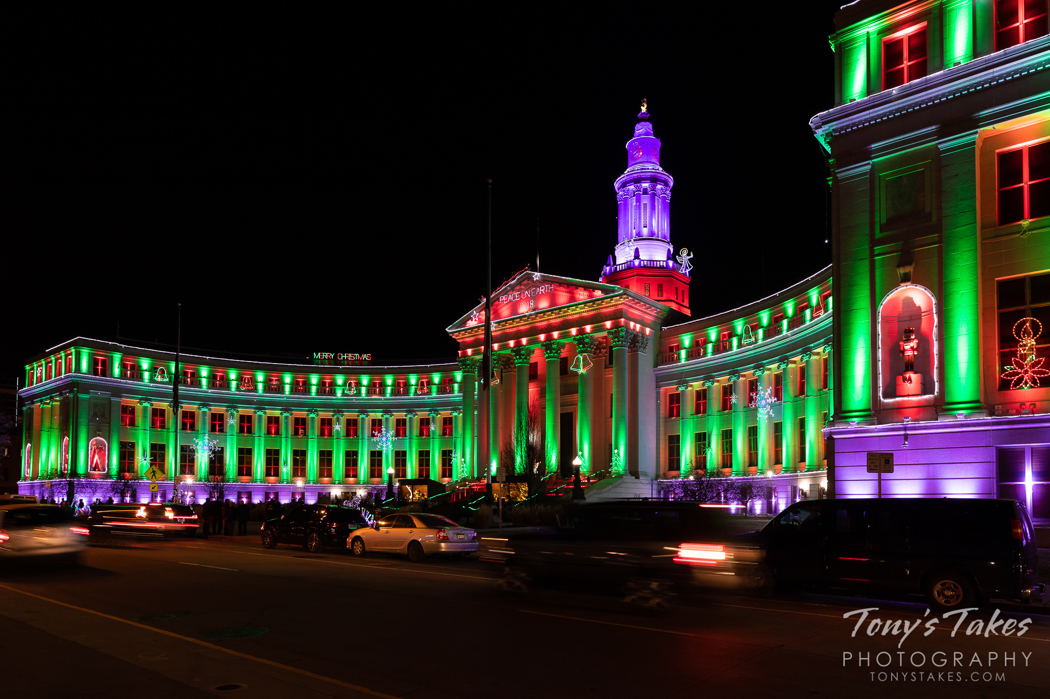 The Denver City and County Building is lit up for Christmas. (© Tony's Takes)