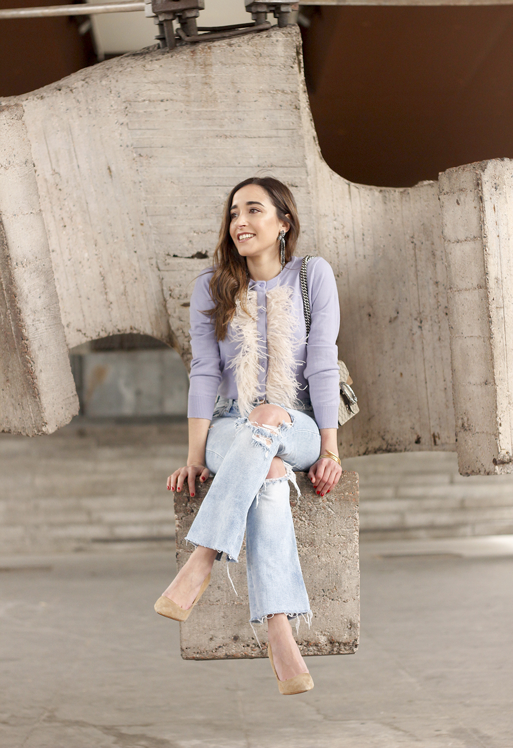 lavender sweater ripped jeans gucci bag nude heels casual street style casual outfit 201911