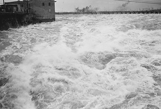 Looking upriver to the ring dam at the Chaudière Falls