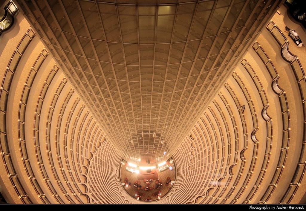Looking down the 33 floor atrium of the Grand Hyatt Shanghai, Shanghai, China