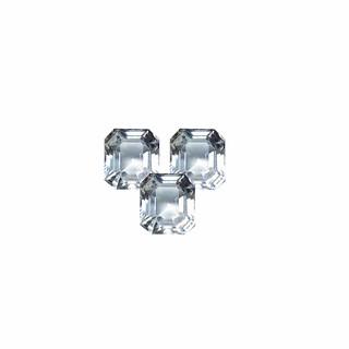 natural white crystal quartz square octagon asscher cut gemstone