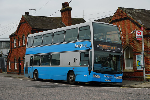 NEW BOXING DAY ONLY ROUTE: Ensignbus 117, PO58 NPV, acting as control bus for route X1 at Upminster Station