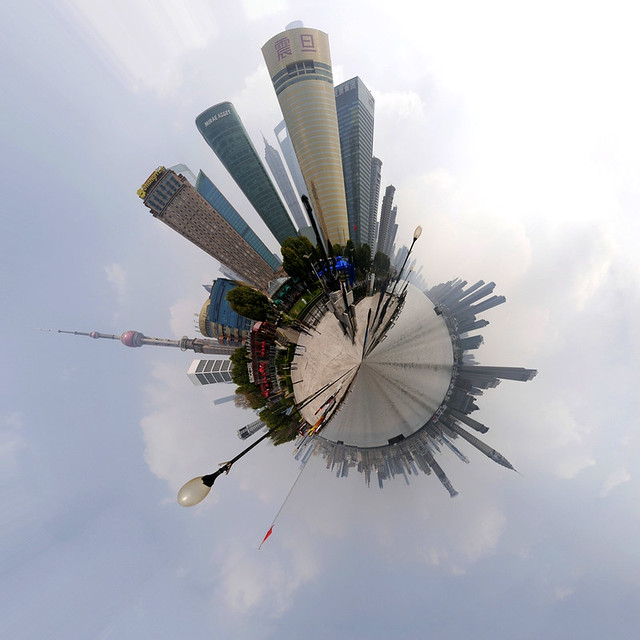 Mini Planet: Shanghai's Pudong and Bund - Skyscrapers skyline (360 degrees)