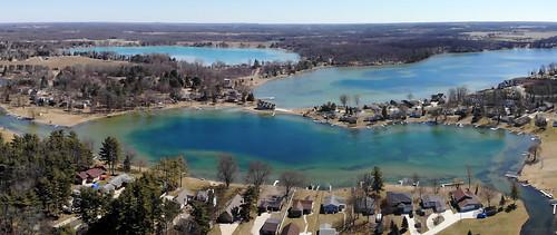 horton michigan unitedstatesofamerica us pinehilllake lakefarwell roundlake jacksoncounty mavicair lake water blue landscape springtime