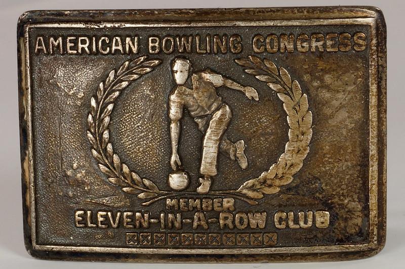 RD26074 1958 Sterling American Bowling Congress Eleven In A Row Club Bowling Sterling Belt Buckle H.J. DSC00144