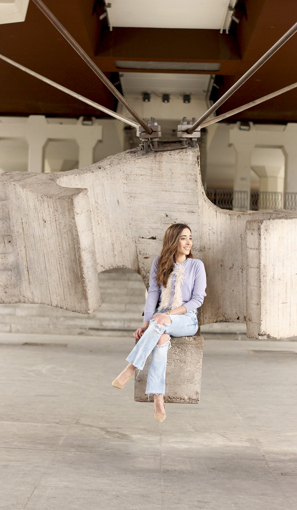 lavender sweater ripped jeans gucci bag nude heels casual street style casual outfit 20197