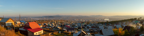 view houses landscape russia siperia ru ulanude city river mountain buryatrepublic