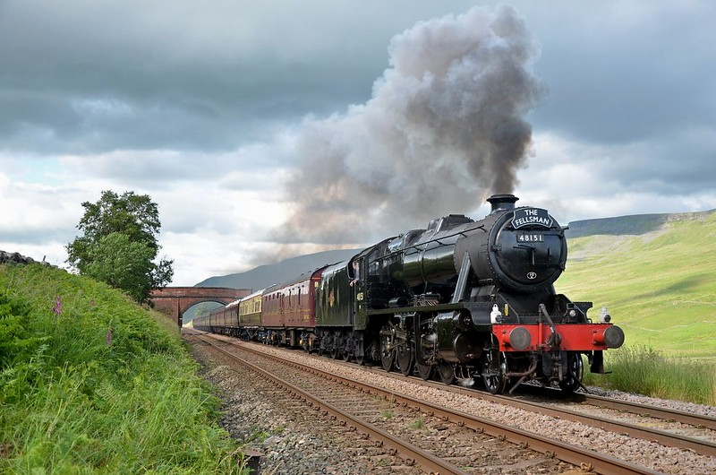 The 8F plods through Mallerstang with the southbound Fellsman on 11/7/2012.Despite appearances,I was behind the fence ! Copyright David Price No unauthorised use