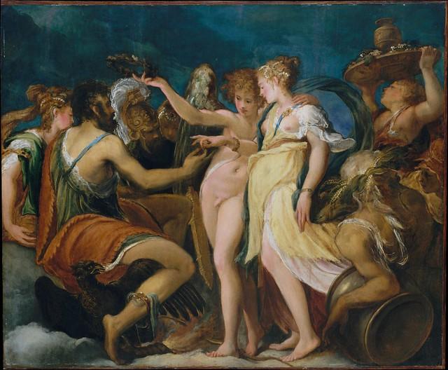 Andrea Schiavone, Die Hochzeit von Amor und Psyche - The Marriage of Cupid and Psyche - Nozze tra Cupido e Psiche
