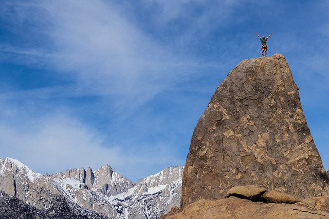 Victory! Atop the Shark Fin in Alabama Hills,Ca. She is starring down Mount Whitney. Shark's Fin Arete.