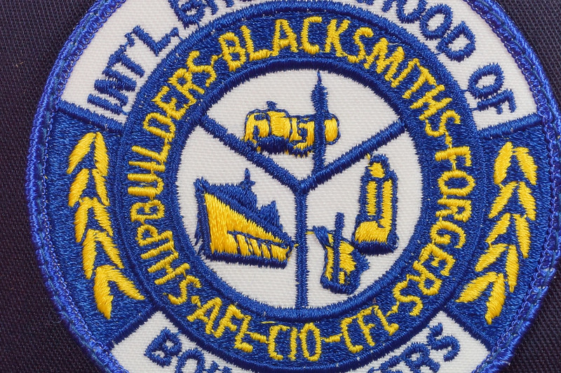RD17136 1980 Boilermakers Iron Ship Builders Blacksmiths Forgers & Helpers Local 568 Tacoma Brass Belt Buckle Anacortes DSC09421