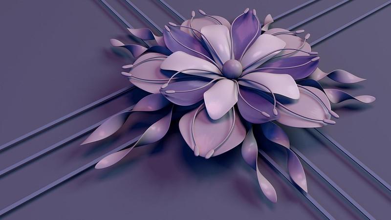 Обои цветок, рендеринг, лепестки, тычинки, линии, полосы, сиреневый картинки на рабочий стол, фото скачать бесплатно
