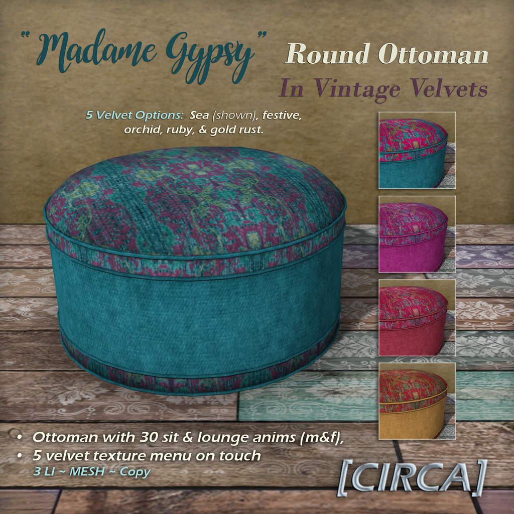 "@ The Boardwalk | [CIRCA] – ""Madame Gypsy"" – Round Ottoman – In Vintage Velvets"