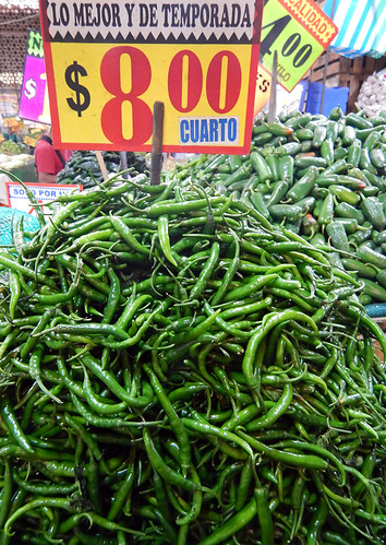 Green chiles for sale at the huge Merced Market in Mexico City