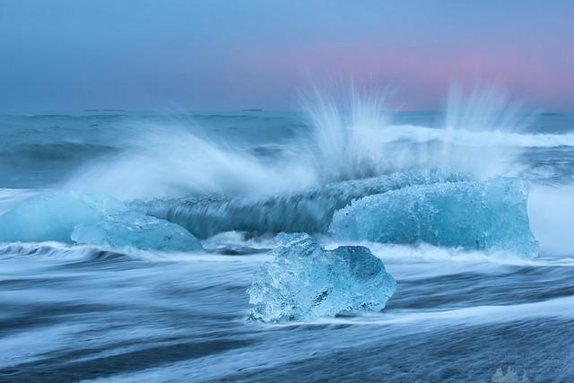 Waves & Icebergs at Dusk, Jökulsárlón