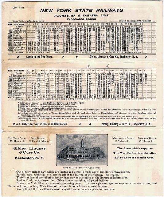 New York State Railways, Rochester & Eastern and Rochester & Sodus Bay Timetable, September 1911