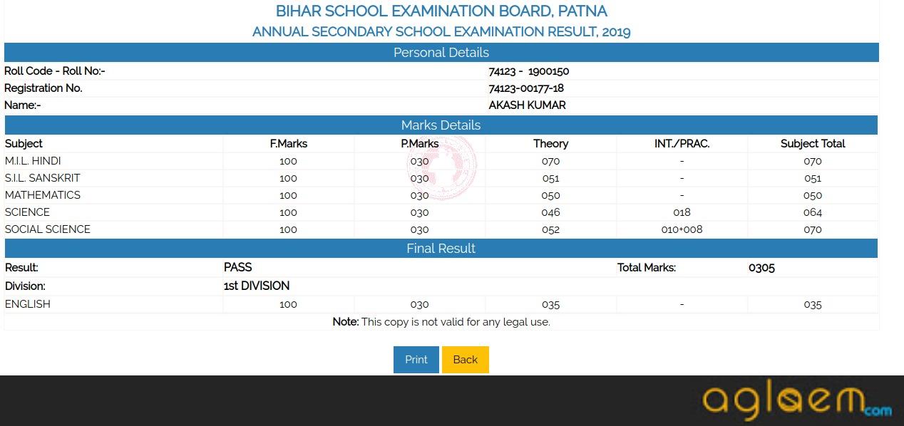Bihar 10th Result 2020 | Bihar Board Matric Result – AglaSem