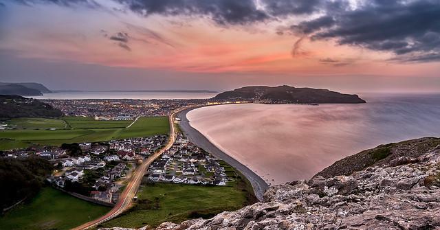 Sunset over Llandundo in North Wales