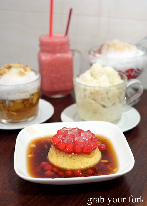 Vietnamese creme caramel and shaved ice desserts at Cafe Nho in Bankstown Sydney