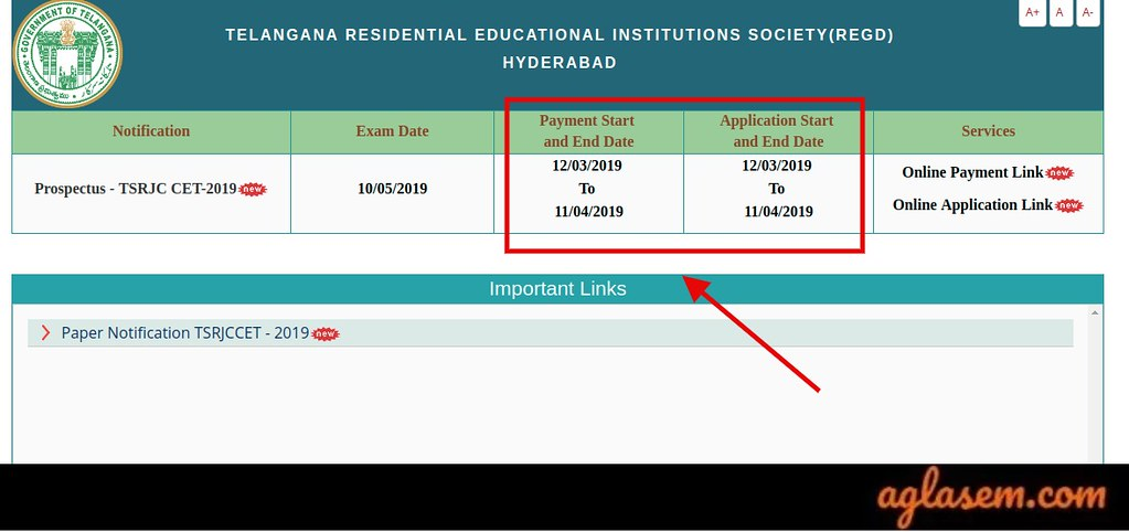 Last Date for TSRJC Application 2019 Submission 11 Apr; Hall Ticket from 01 May
