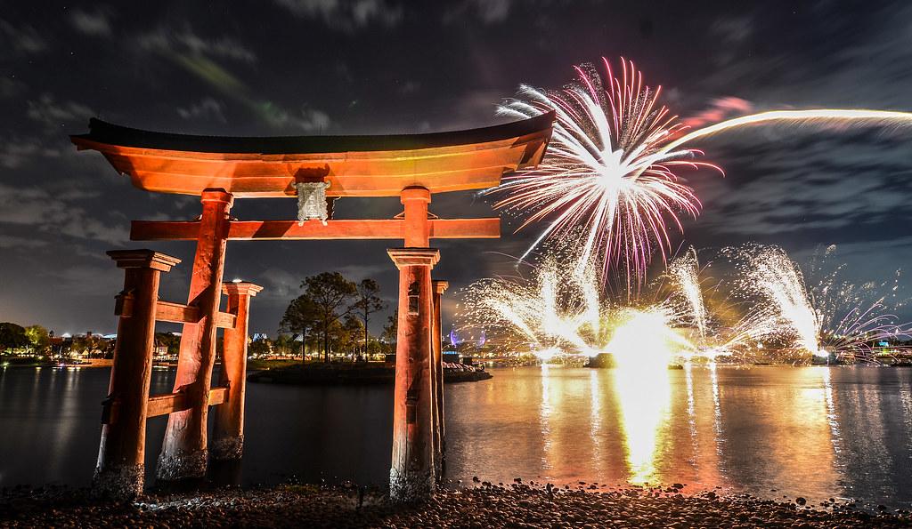 Torii gate Illuminations red burst Epcot