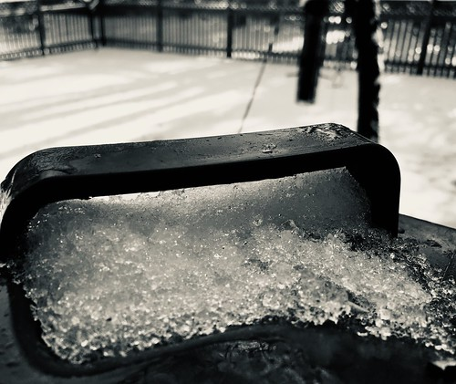 baltimore maryland home backyard trashcanhandle fences snowice texture dof bokeh mono bw hmbt iphone cmwd