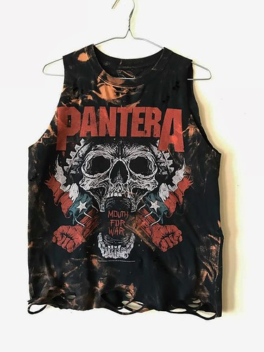 Splatter Bleached and Shredded Pantera Tank Top Small | by shopthegasstation