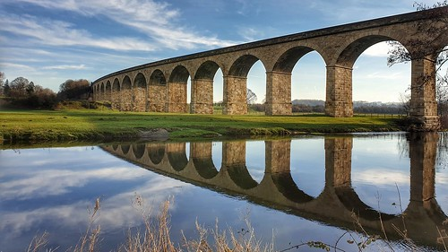 viaduct bridge architecture river sky clouds reflection reflections countryside yorkshire outdoor s9 landscape