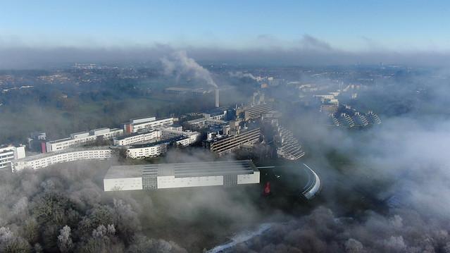 Aerial of the UEA in fog