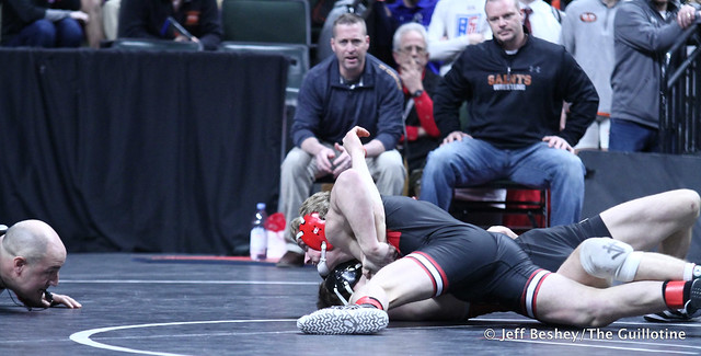 138A Semifinal - Mark Buringa (St Charles) 22-1 won by decision over Tagen Miller (Wabasha-Kellogg) 44-5 (Dec 10-7). 190302AJF0411