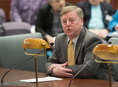 Rep. Mike France testifies before the Judiciary Committee.