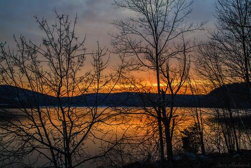 smack53 monksville monksvillereservoir trees silhouettes sunset paintedsky evening eveningsky ringwood newjersey nikon d3100 nikond3100 winter wintertime winterseason reflections