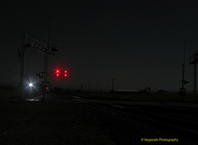 Midnight at National Trails Highway ( Route 66) railroad crossing at Amboy California