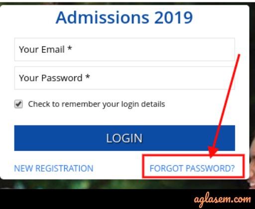 SRMJEEE 2019 Forgot Password
