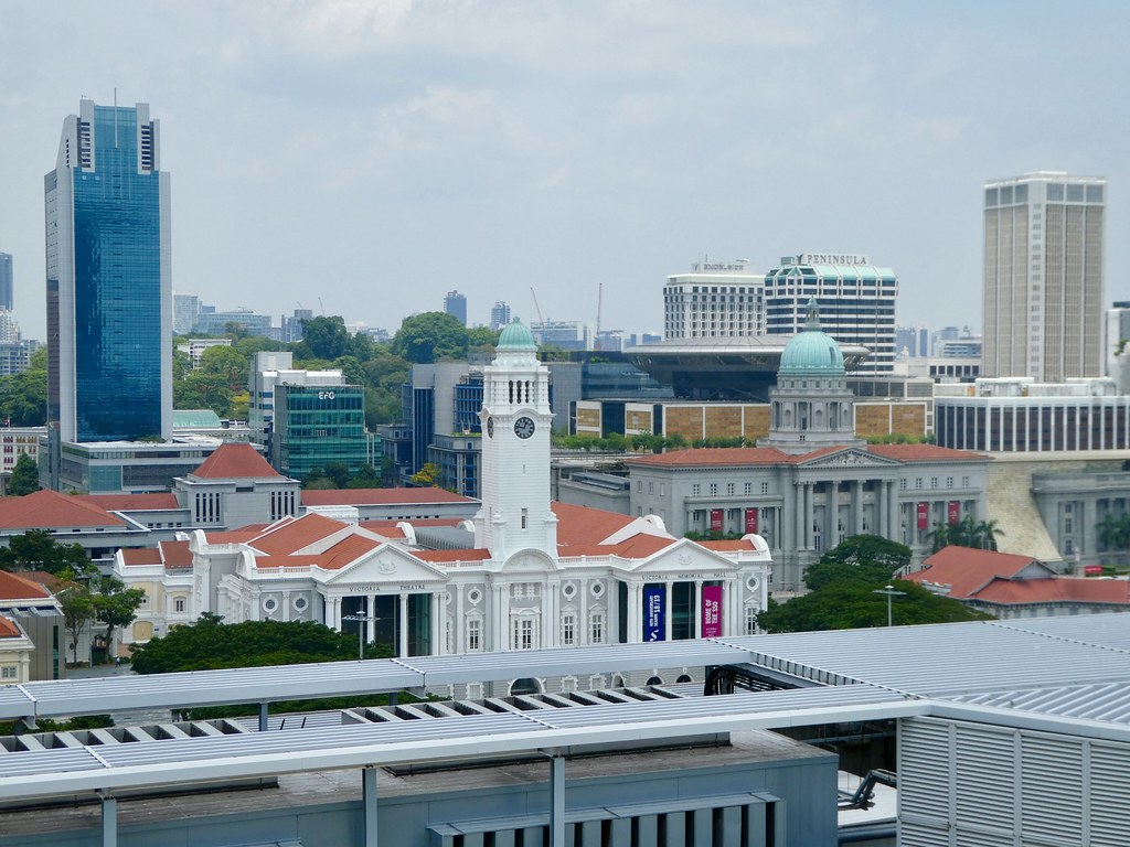 Views over the civic district of Singapore from the rooftop of the Fullerton Hotel, Singapore