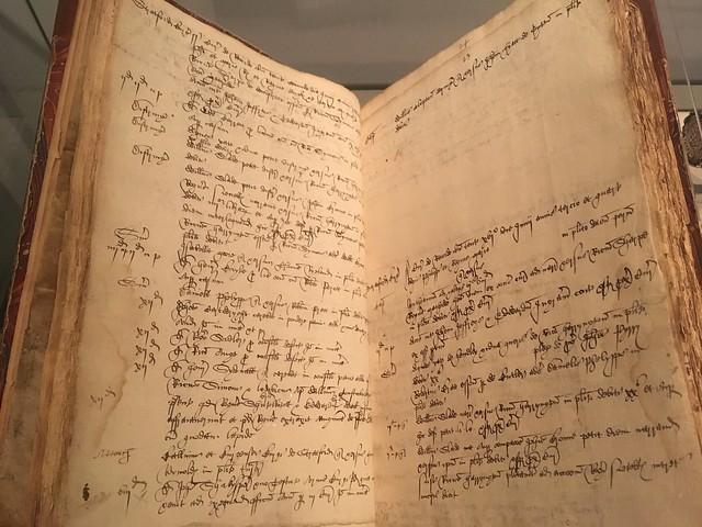 Handwritten manuscript on display at Shakespeare's birthplace