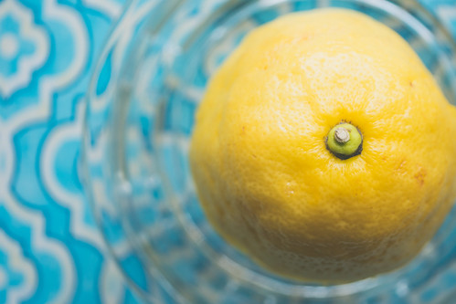 Fresh Squeezed Lemon On Aqua Pattern Tray | by thepaintedsquare