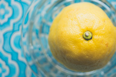Fresh Squeezed Lemon On Aqua Pattern Tray
