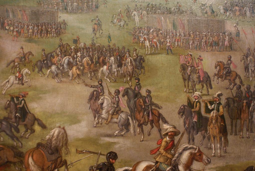 """Peinture """"Bataille"""" de Sebastian Vranckx au musée des Beaux Arts de Séville."""